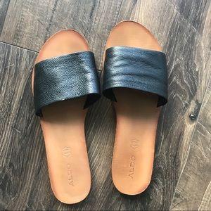 Black leather Aldo slides sandals